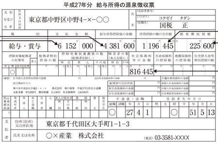 平成27年給与所得の源泉徴収票