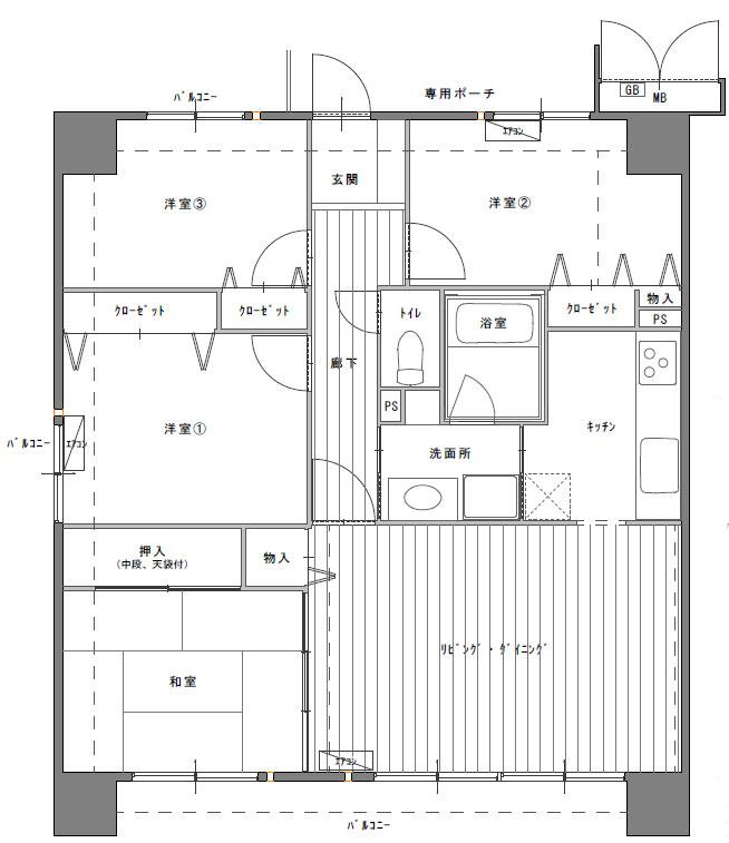 4LKDマンション間取り図