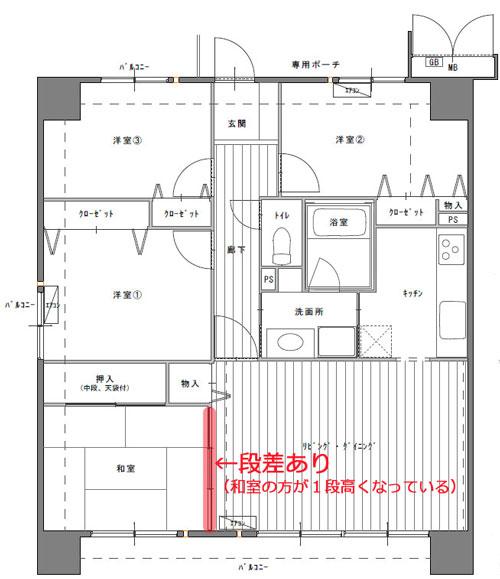 中古マンション4LKD間取図 和室の段差