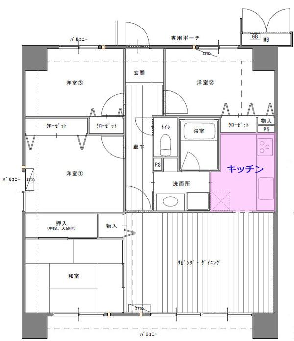 中古マンション4LDK間取図キッチン