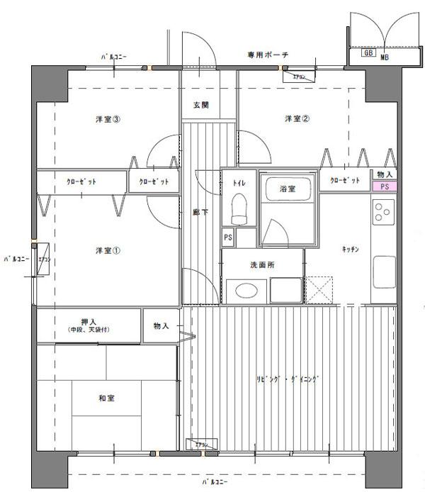 中古マンション4LDK間取図 キッチンのパイプスペース