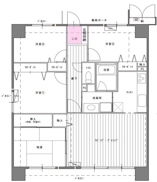 4LDKマンション間取図 玄関スペース