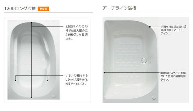 リクシル 1200ロング浴槽とアーチライン浴槽