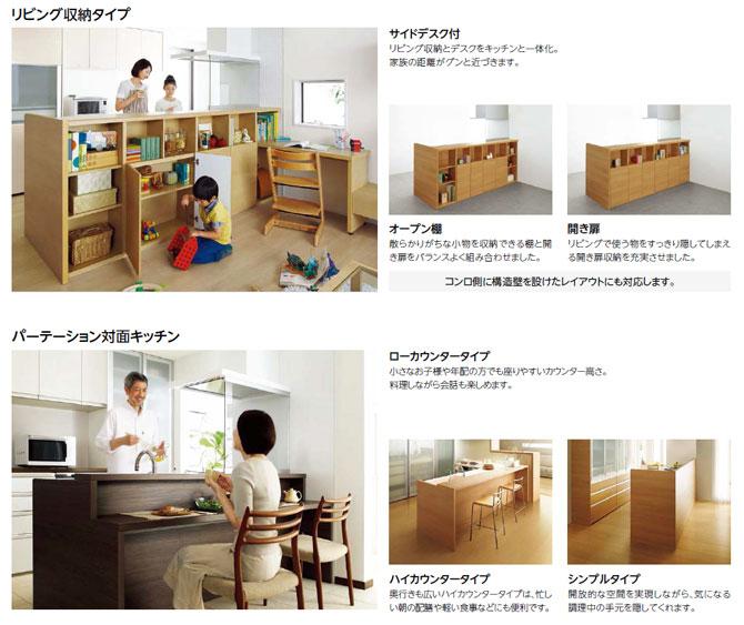 リクシル リシェルSIの対面キッチンユニット