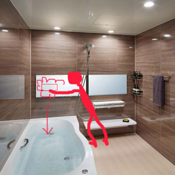 お風呂の横長の鏡は洗剤がバスタブに流れ込む
