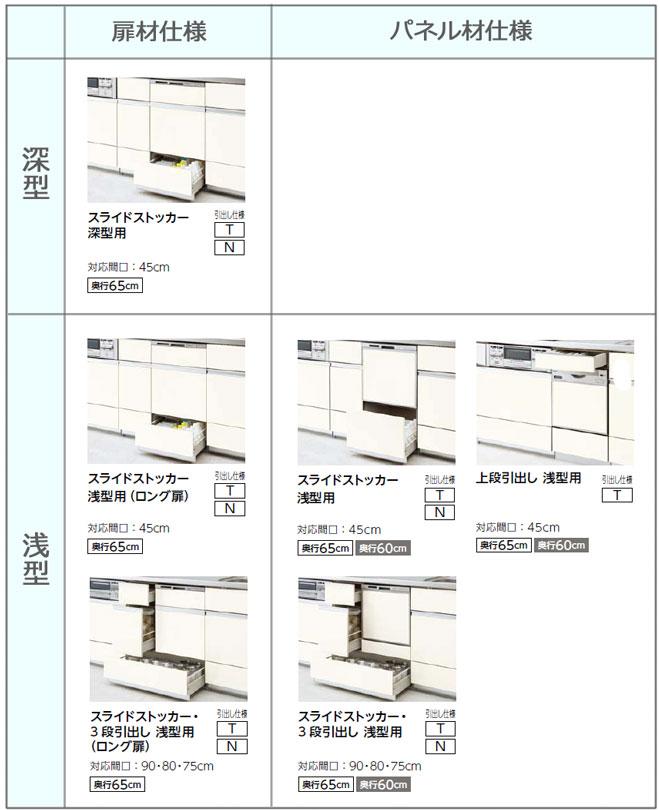 シエラ 食器洗い乾燥機用キャビネットの比較表