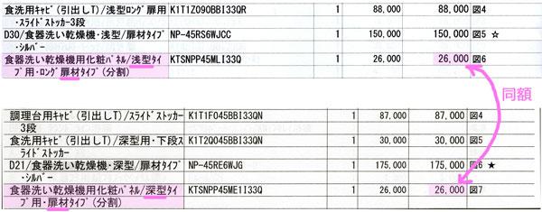 シエラ食洗機 浅型・深型の扉材の見積り金額