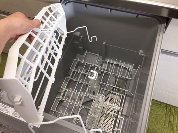 Panasonic食洗機NP-45RE6WJGの上段ラックの取り外し