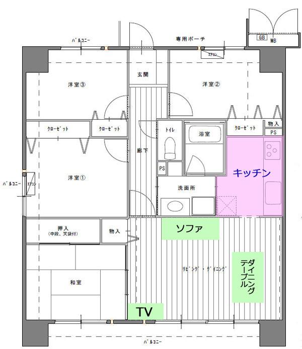 マンションの間取図とリビングの家具の配置図