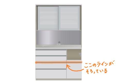 食器棚の引き出しのライン