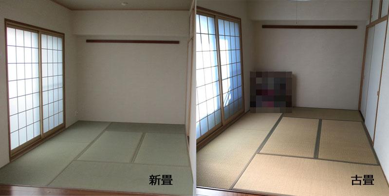 イグサ畳の退色による変化と畳縁の見え方