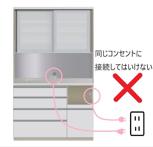 食器棚の電源の取り方(同じコンセントに接続してはいけない)