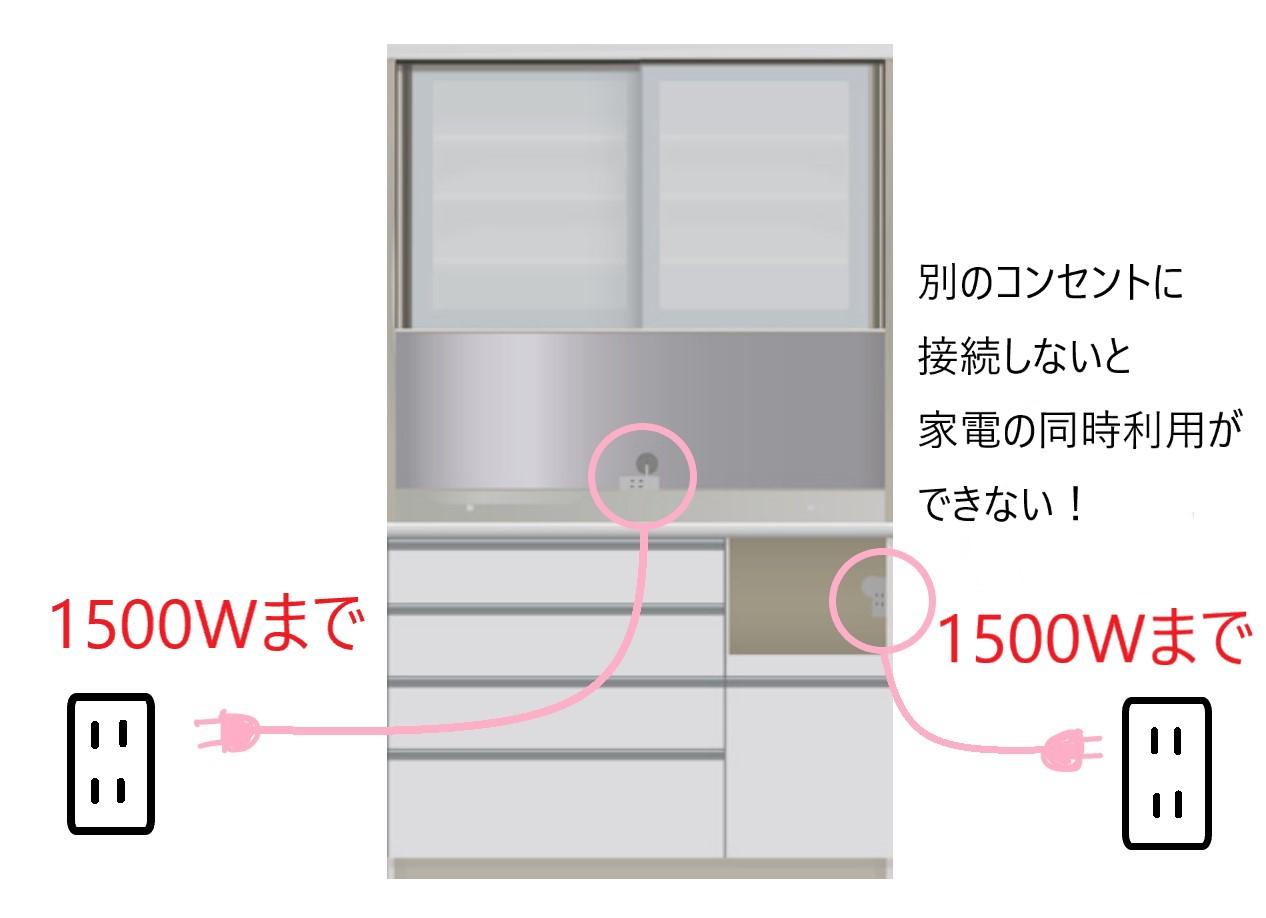 食器棚の電源の取り方(別々のコンセントに接続しないと家電の同時利用ができない)