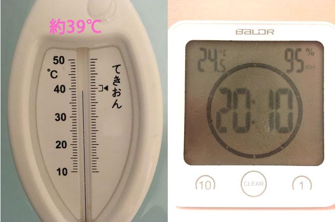 入浴直後の湯温と室温