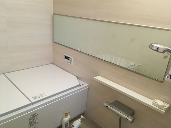 お風呂の横長鏡が曇ったら、視覚効果なし