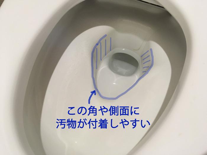 リクシル トイレの弱点(汚物が付着しやすい形状)